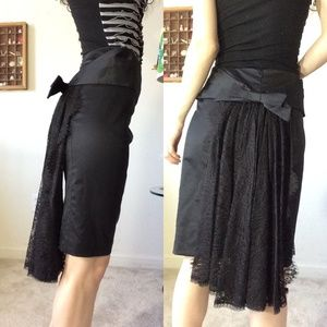 Nanette Lepore Black Bow Lace Back Pencil Skirt